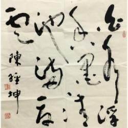 中国书法家协会河北分会会员 陈经坤《白水浮香墨,清池满夏云》