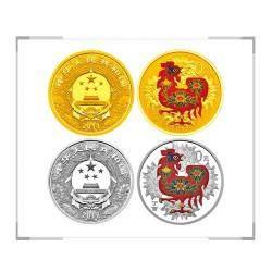 2017鸡年生肖金银纪念币 彩色金银套装 3g彩金+30g彩银