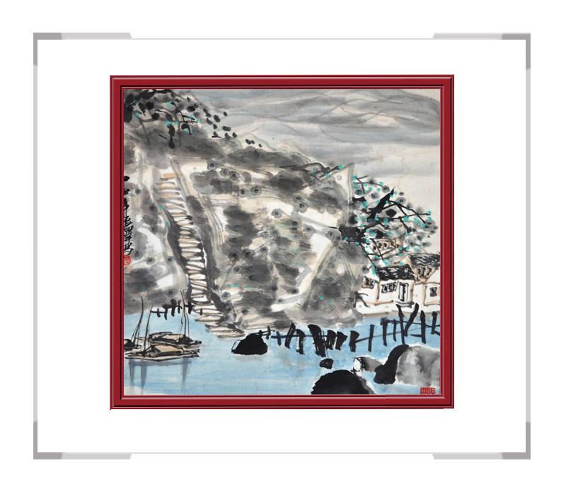 第三款 中国美术家协会会员程振铎作品,彩色斗方山水画【大国工匠 翰墨天下】