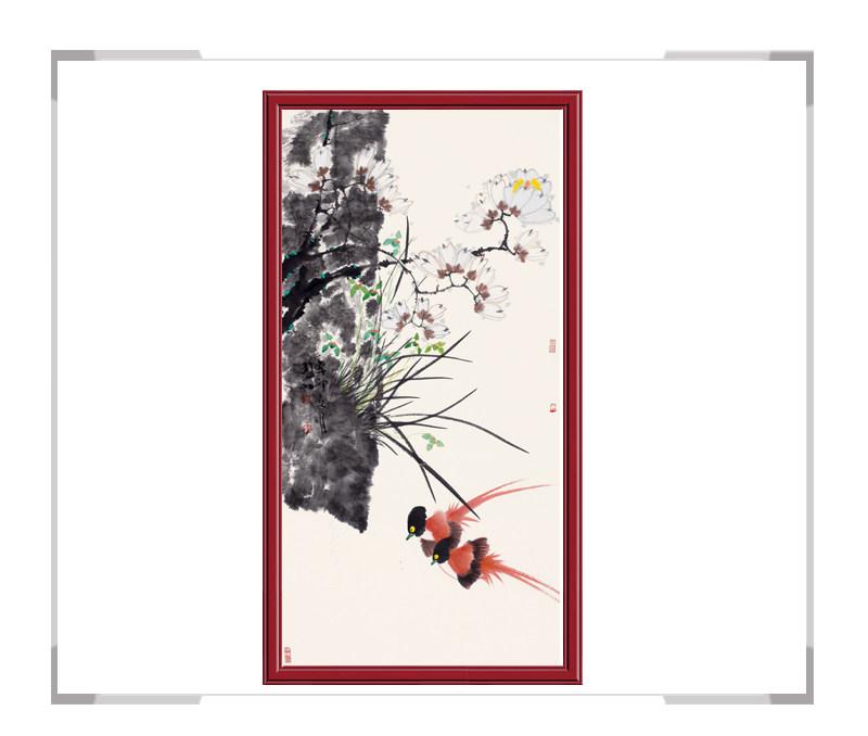 画家侯晓峰作品—竖幅彩色花鸟第一款