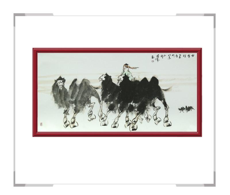 中国美协会员画家胡国伟-横幅作品骆驼第一款