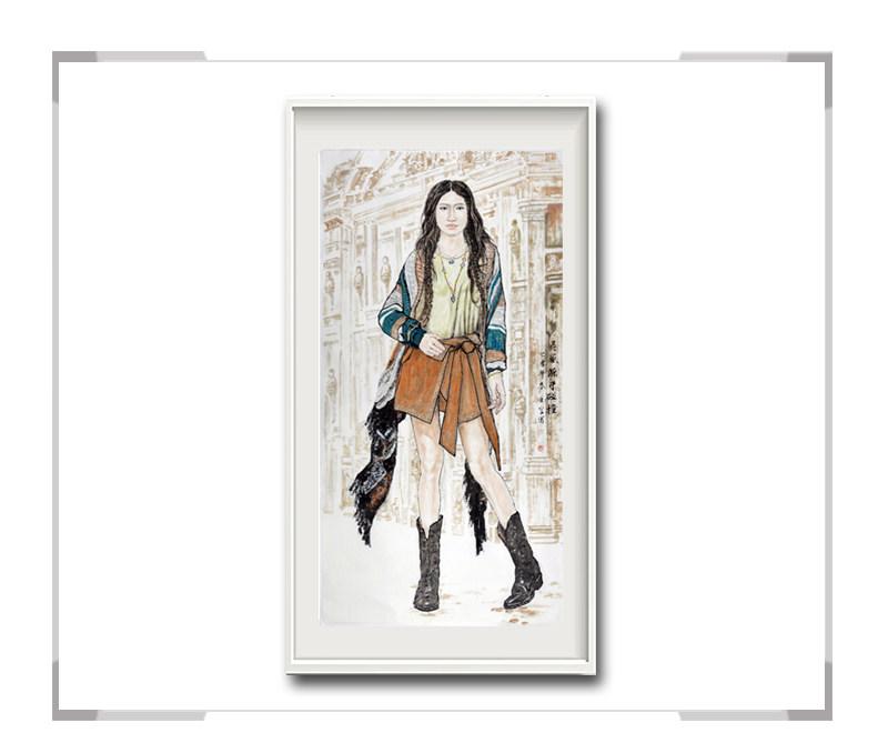 中国美术家协会会员李任孚-现代人物画竖幅·灵感源于碰撞