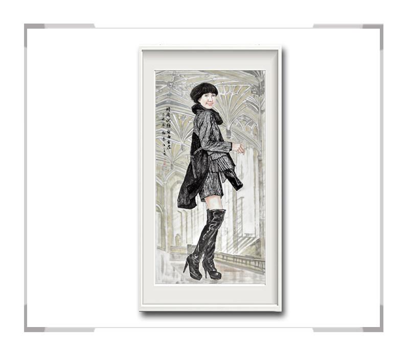 中国美术家协会会员李任孚-现代人物画竖幅·时尚优雅自由自在