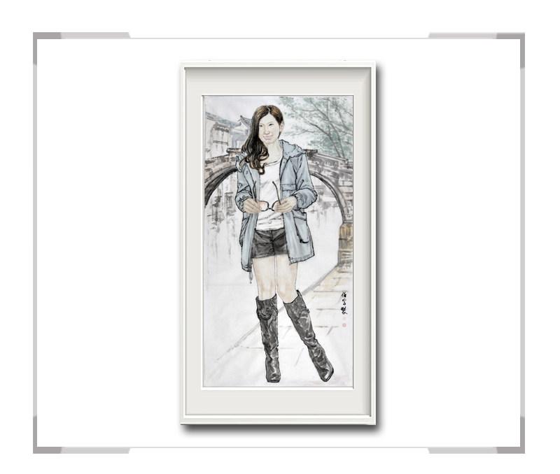 中国美术家协会会员李任孚-竖幅时尚人物画·美女拿眼镜