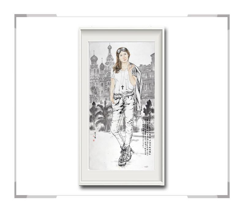 中国美术家协会会员李任孚-竖幅时尚人物画·美女 牛仔裤