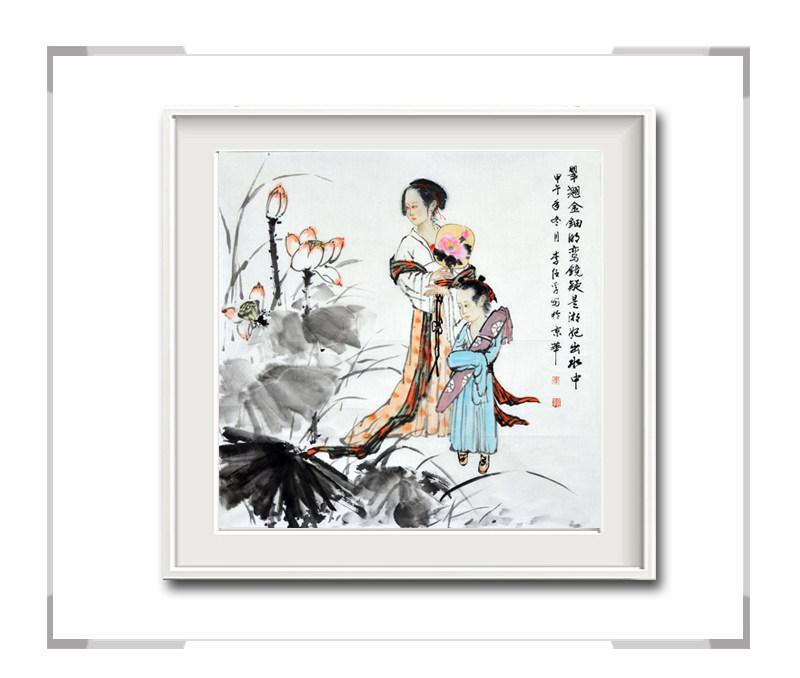 中国美术家协会会员李任孚-斗方古典美人画·翠翘金钿明鸾镜