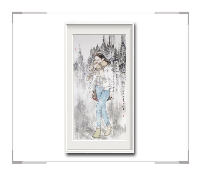 中国美术家协会会员画家李任孚-竖幅人物画