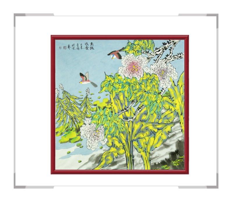 中国美协会员画家李涛作品-斗方花鸟第一款