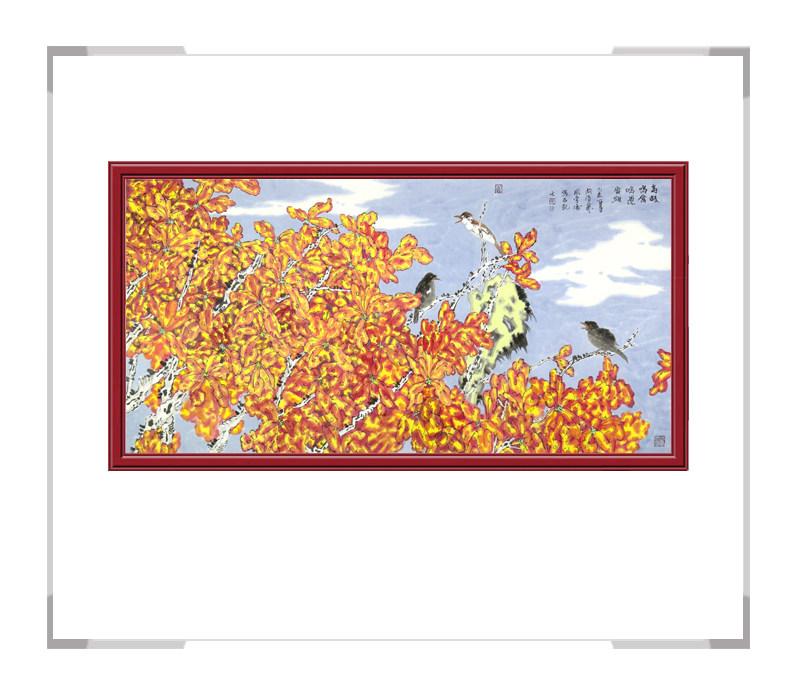 中国美术家协会会员李涛作品-横幅彩色花鸟第二款