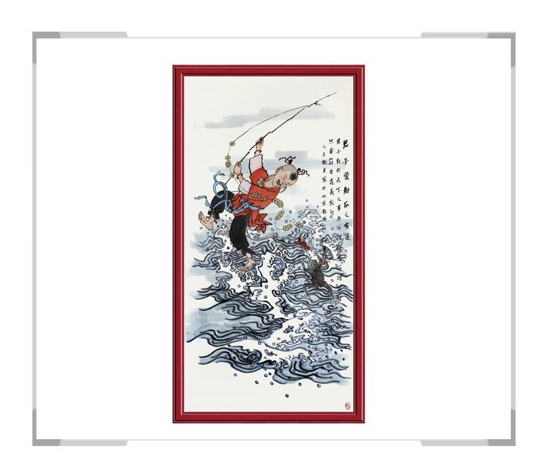 当代书画家刘剑勇-竖幅民俗人物第一款