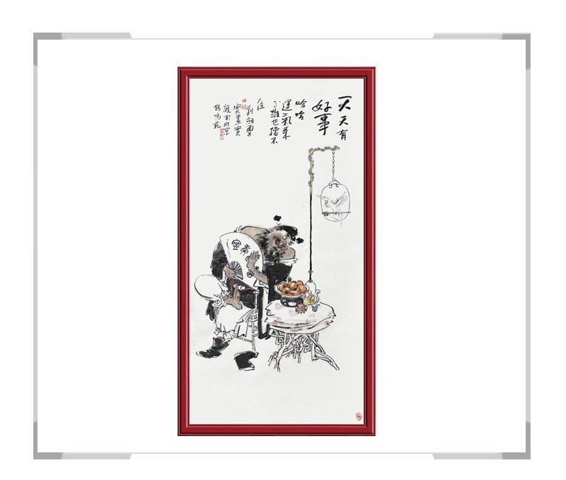 当代书画家刘剑勇-竖幅民俗人物第二款