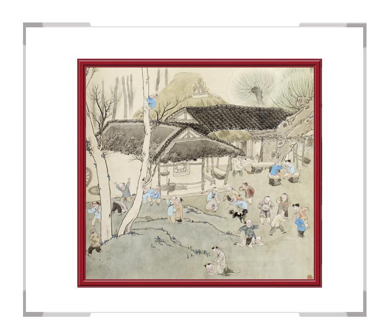 当代书画家刘剑勇-儿童主题第一款百子戏春图