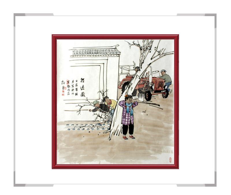当代书画家刘剑勇-儿童主题第三款捉迷藏