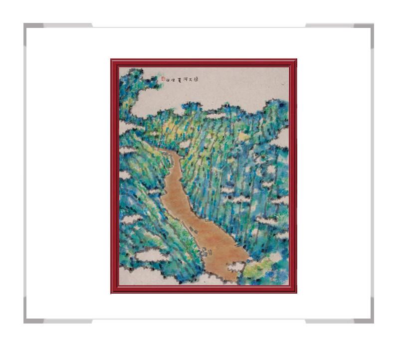 当代书画家刘牧作品-十二月彩色风景画之六月