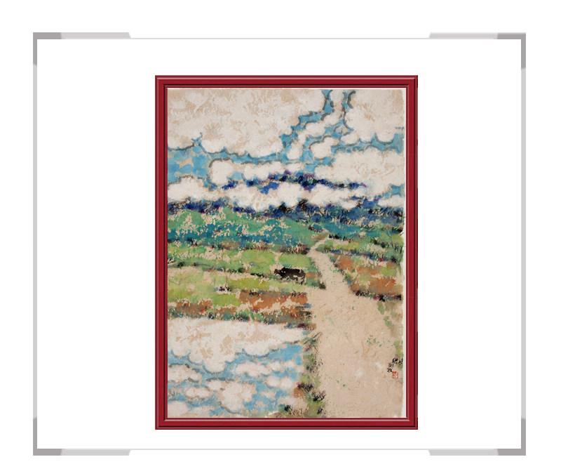当代书画家刘牧作品-十二月彩色风景画之七月