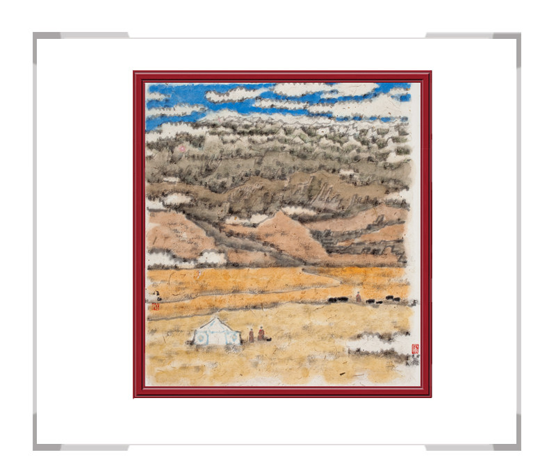当代书画家刘牧-十二月主题彩色风景之八月