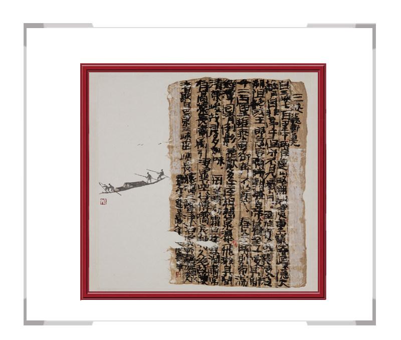 当代艺术家刘牧作品-书画结合创意画三峡