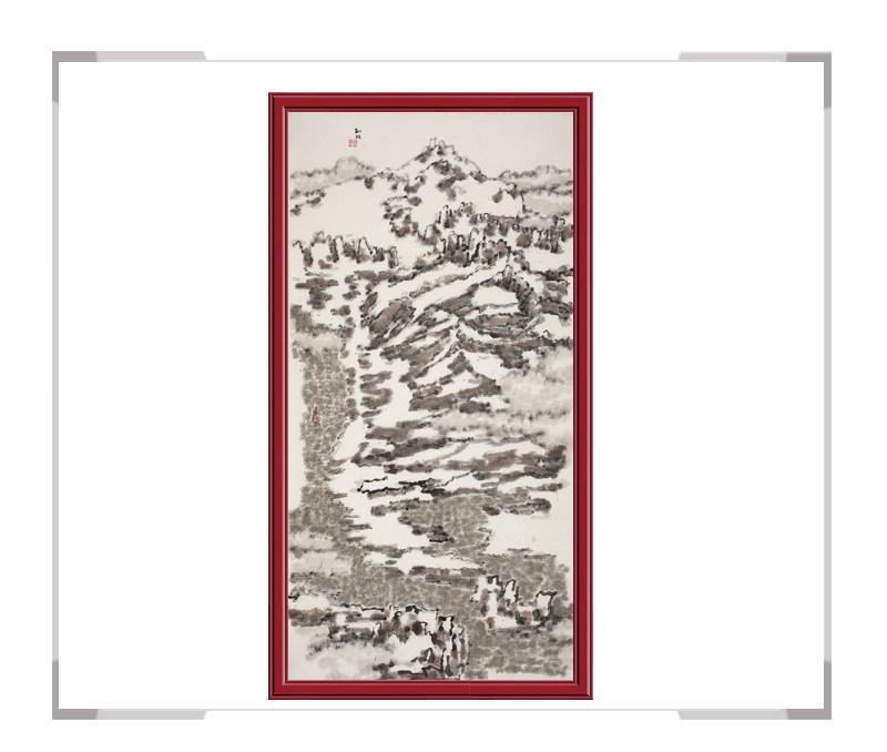 当代书画家刘牧-竖幅山水作品第一款
