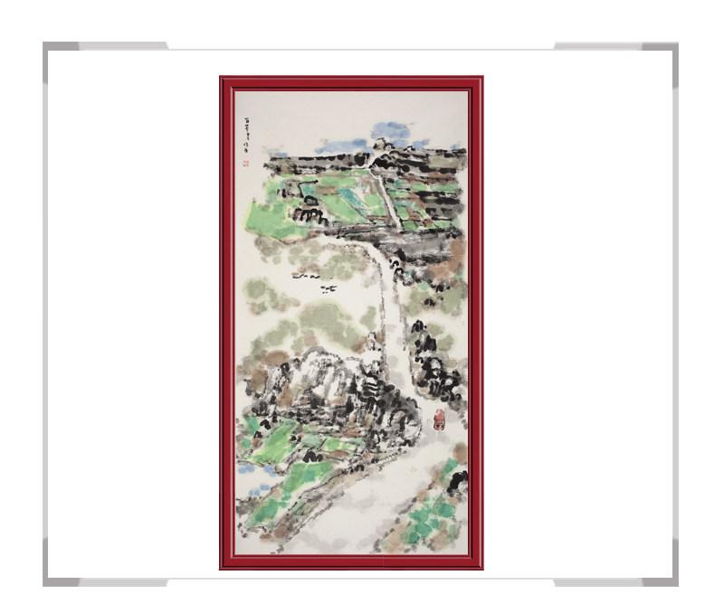 当代书画家刘牧老师作品-山水画竖幅第一款