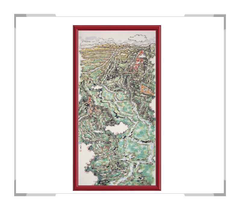 当代书画家刘牧老师作品-山水画竖幅第二款