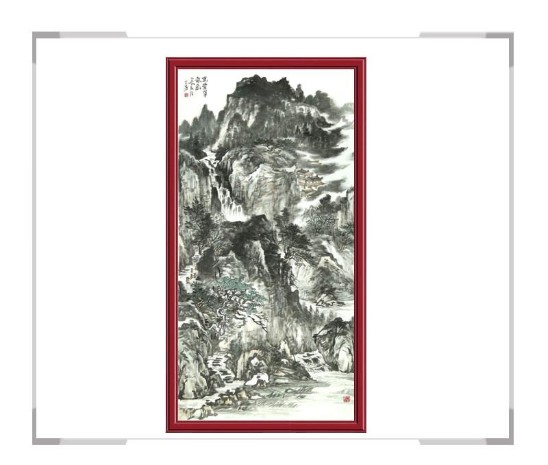 中国美协会员牟丕芳老师作品-水墨竖幅山水其一