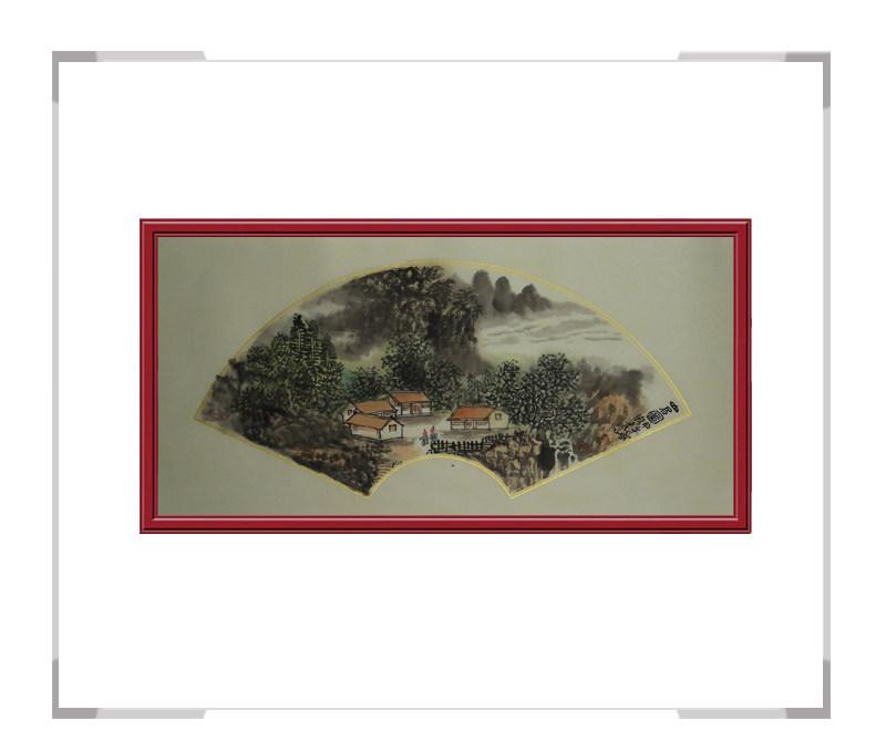 中国美术家协会会员牧青-山水扇面作品第一款