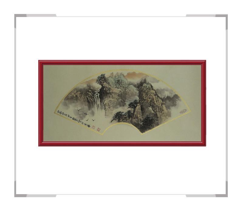 中国美术家协会会员牧青老师-扇面山水画第一款