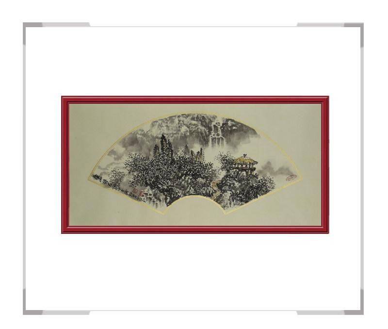 中国美术家协会会员牧青老师-扇面山水画第二款