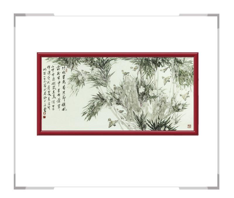 中国美术家协会会员戚文艺-横幅花鸟作品竹子三
