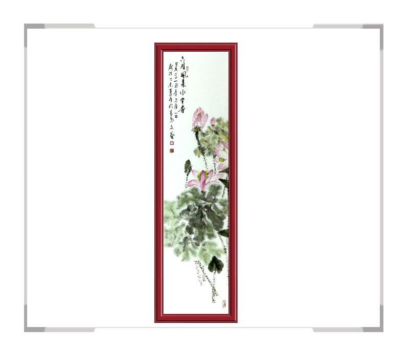 中国美协会员戚文艺-竖幅花鸟画第二款荷花