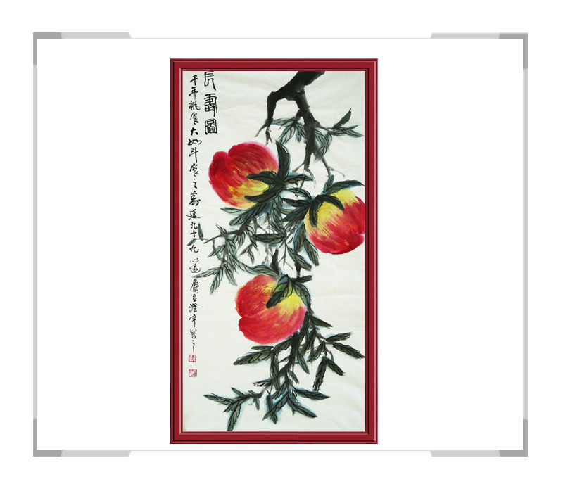 中国美术家协会会员画家清水河作品-竖幅花鸟画之寿桃一