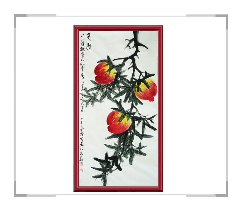 中国美术家协会会员画家清水河作品-竖幅花鸟画之寿桃二
