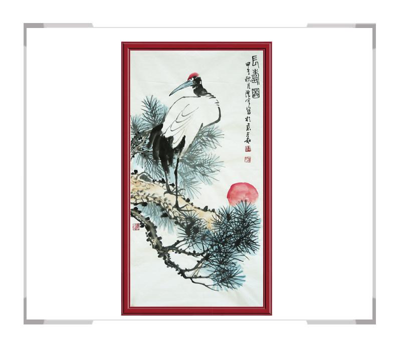 中国美术家协会会员清水河作品-竖幅花鸟画之珍禽一款鹤