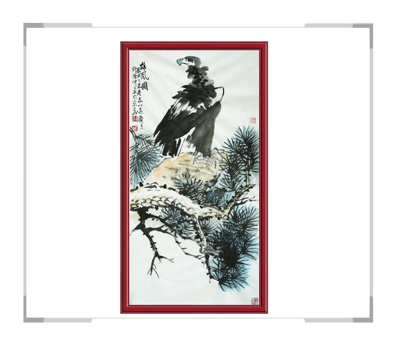 中国美术家协会会员清水河作品-竖幅花鸟画之珍禽二款鹰