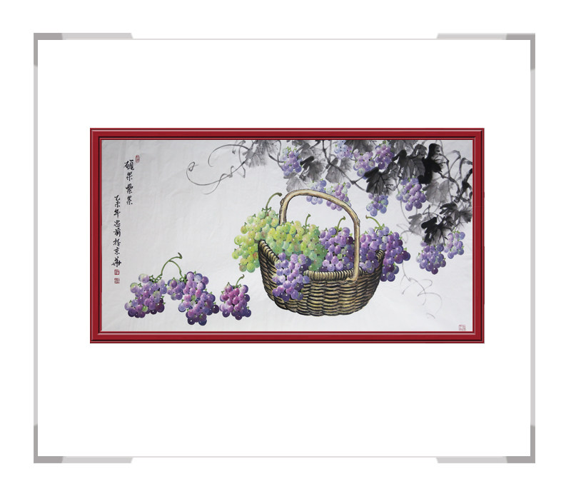 中国美术家协会会员王绍武老师-横幅花鸟主题葡萄作品三