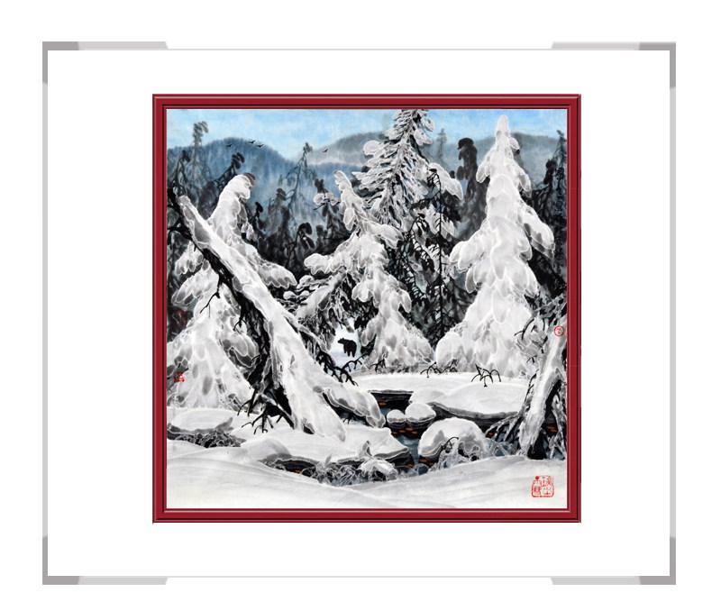 中国美术家协会会员吴国言作品-斗方山水冰雪主题第一款