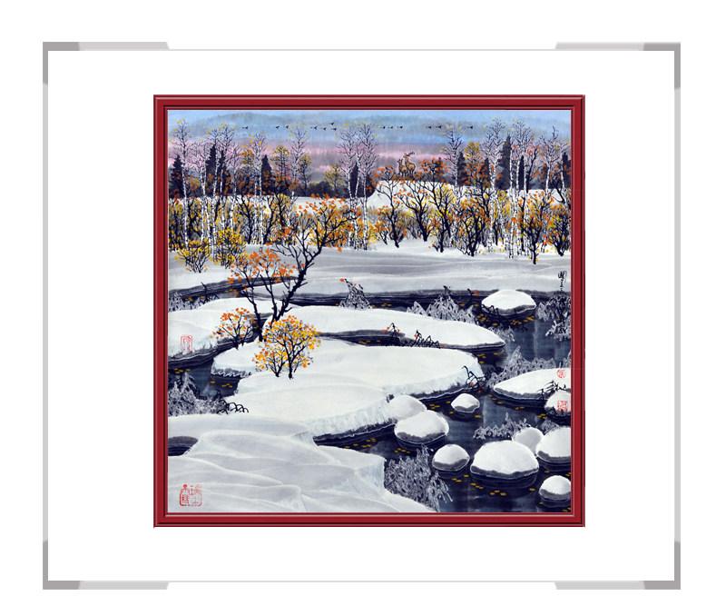 中国美术家协会会员吴国言作品-斗方山水冰雪主题第二款