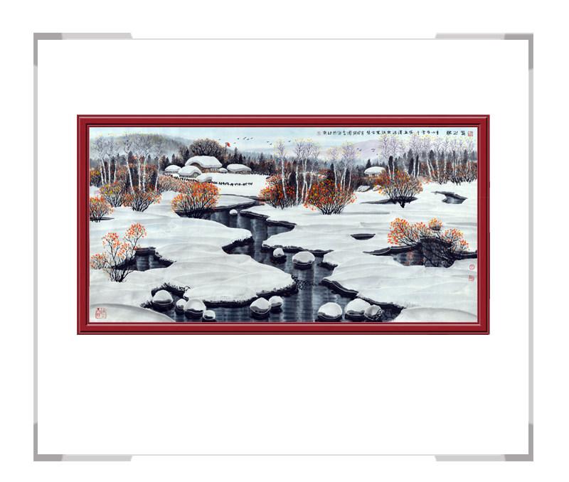 中国美术家协会会员吴国言-横幅风景画春之歌第二款