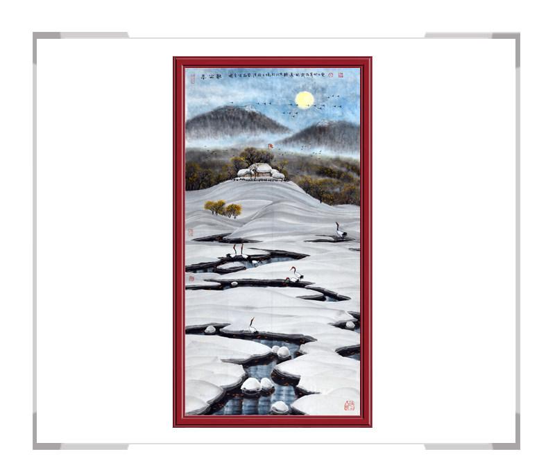 中国美术家协会会员吴国言-竖幅风景画冰雪作品一