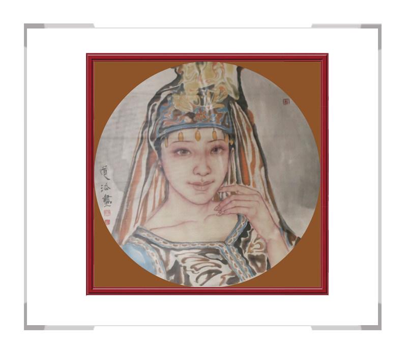 当代艺术家夏道法-斗方少数民族美女人物作品一