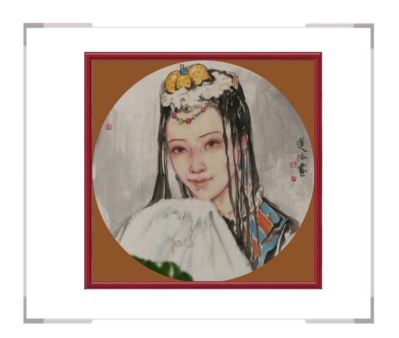 当代艺术家夏道法-斗方少数民族美女人物作品二