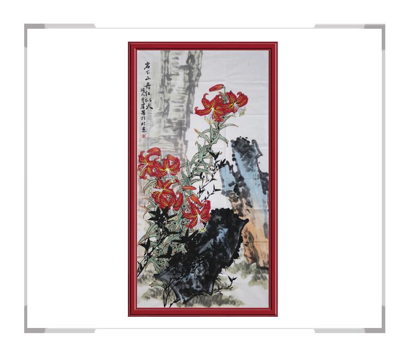 中国工笔画学会会员杨秀泽作品-竖幅花鸟画岩下山丹红似火一