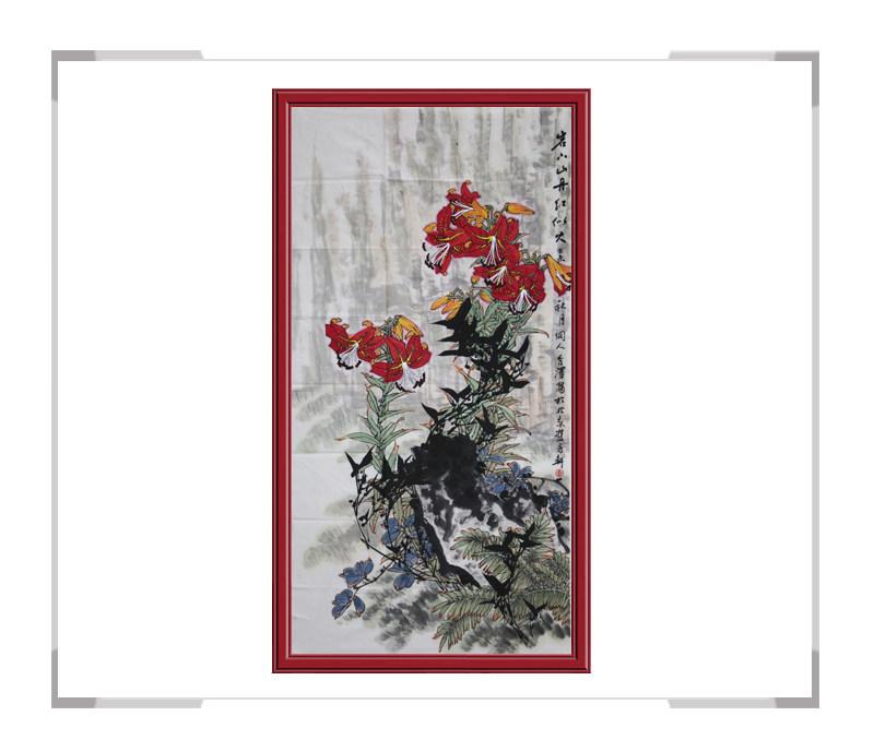 中国工笔画学会会员杨秀泽作品-竖幅花鸟画岩下山丹红似火二