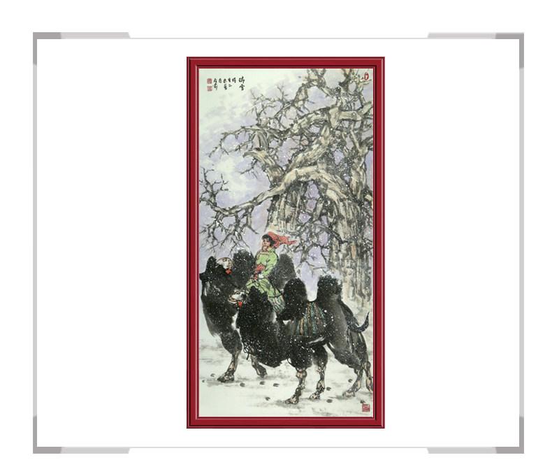 中国美协会员杨永家-竖幅动物题材骆驼作品一