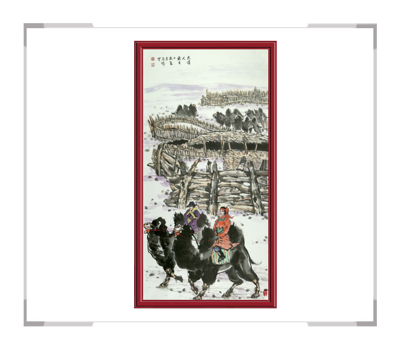 中国美协会员杨永家-竖幅动物题材骆驼作品二
