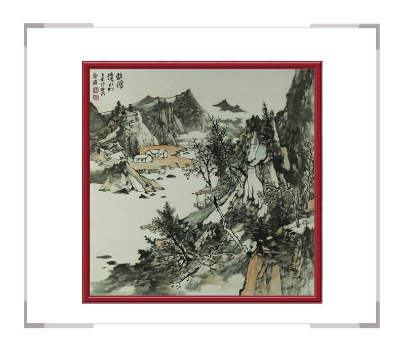 中国美术家协会会员徐卫国-斗方山水画作品二