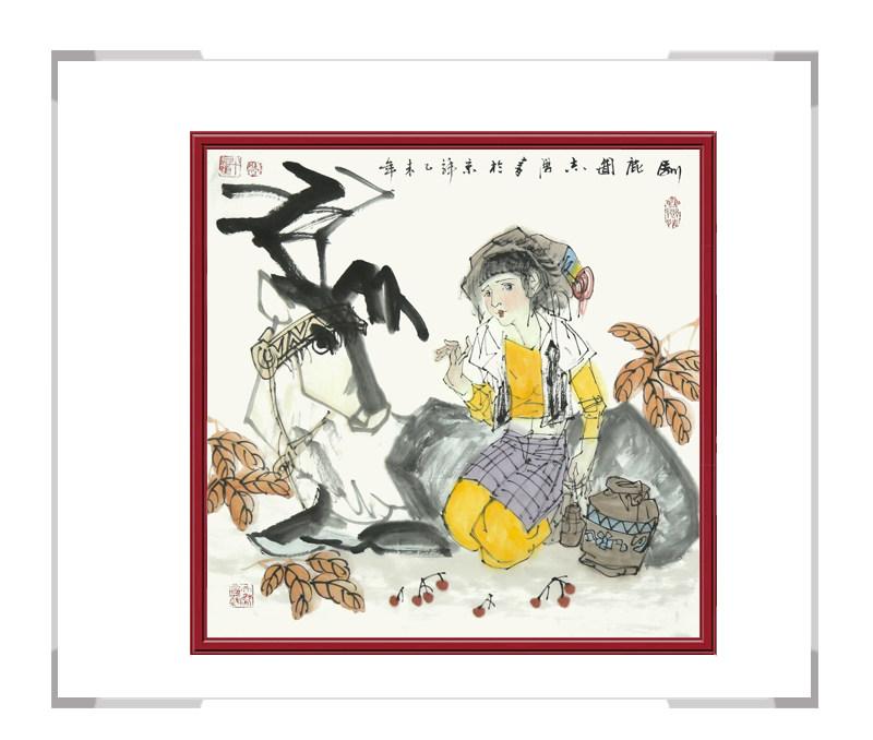 中国美术家协会理事于志学老师作品-人物画斗方第三款
