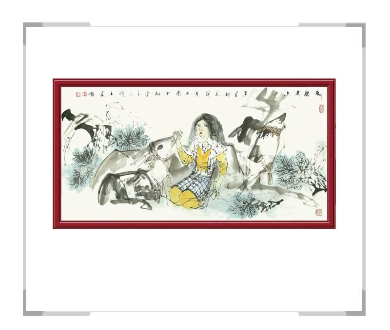 中国美术家协会理事于志学作品-美女人物画横幅一