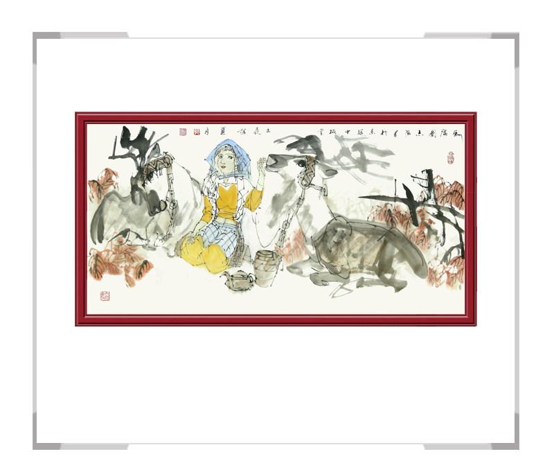 中国美术家协会理事于志学作品-美女人物画横幅二