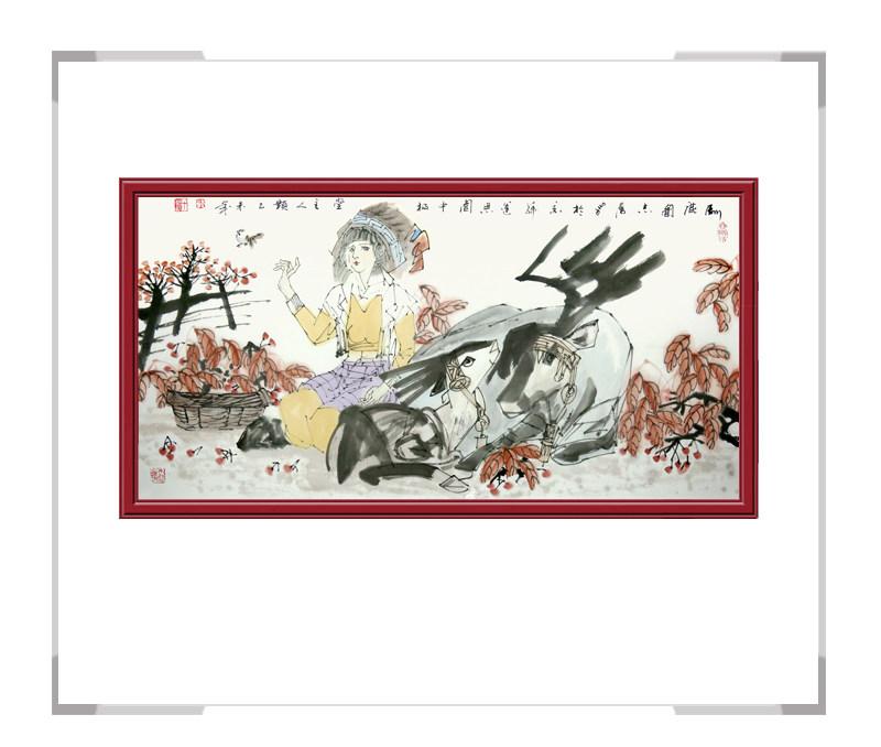中国美术家协会理事于志学老师-横幅美女人物画第三款